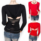 Funky Straps Shredded Back Cutout Hoody Blouse Top