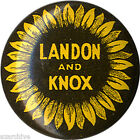 1936 Campaign Alfred LANDON Frank KNOX Sunflower Button ~ Official Logo (2534)