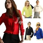 Spring Candy Color Women Solid Shirt Blouse Chiffon Tops Elegant OL Turn Down