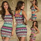 Women Tank Dress Colorful Vintage Print Bow Sleeveless Slim Party Dress 3 Colors