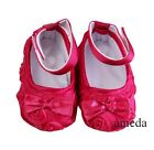 Baby Girls Hot Pink Rosettes Ribbon Crib Shoes