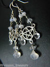 925 sterling silver  PENTACLE MOONSTONE ROCK QUARTZ gemstone EARRINGS