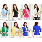 Women/Lady One Button Blazer Tunic Jacket Ruffle Structured Casual Suit Top Coat