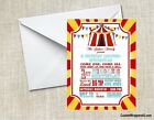 Carnival Circus Tent Birthday Party Invitations Custom Personalized
