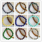 Beautiful Mixed stone  Round Bead Stretchy Bracelet 7 inch 10mm LL016