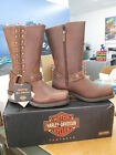 NEW Harley Davidson Womens Leather Boot Boots Shoes Medium Tan Auburn