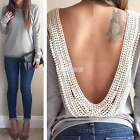 Stylish Sexy Women/Lady Backless Casual Long Sleeve Lace Blouse T-Shirt Tops
