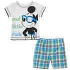 Disney Boys' 2 Piece White/Blue Cool Little Dude Mickey Mouse Playwear Set with
