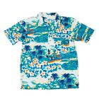 MENS HAWAIIAN SHIRT FANCY DRESS COSTUME TURQUOISE SURF PRINT HAWAII PARTY OUTFIT