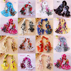 New Women's Chiffon Floral pattern scrawl Long Wrap Shawl Scarf Scarves W046z