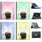 Cute Pug In Rabbit Ears Folio Cover Leather Case For Apple iPad Tablet