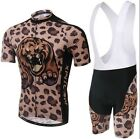2015 Leopard Cycling Bike Short Sleeve Clothing Bicycle Jersey Bib Shorts S-4XL