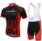 New Black-Red Cycling Bike Short Sleeve Clothing Bicycle Jersey Bib Shorts S-4XL