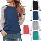 Fashion Womens Lace Splice Crew Neck Long Sleeve T Shirt Blouse Top