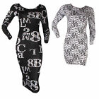 WOMENS LADIES SHORT LONG PRINT BODYCON SLEEVE SCOOP STRETCHY MIDI DRESS SIZES