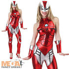 Superhero Rescue + Mask Ladies Fancy Dress Iron Man The Avengers Womens Costume