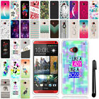 For HTC One M7 Art Design TPU SILICONE Rubber SKIN Case Phone Cover + Pen