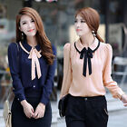 OL Women Doll Collar Bowknot Sheer Chiffon Button Down Shirts Casual Tops Blouse