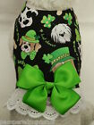 DOG CAT FERRET Custom Harness-Lucky Green Clover St Patricks Holiday Bow & Lace