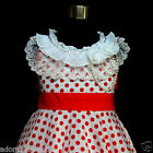 FREE P&P W3122 Reds White Princess Polkadot Flower Girls Party Dresses SIZE 3-4Y