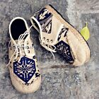 Women Tribal Embroidered Casual Shoes Chinese Lace Up Plimsoll Sneaker Straw New