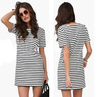 Fashion Women Short Sleeve Round Neck Stripe Casual Short Mini Dress Vogue