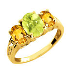 2.15 Ct Oval Lemon Quartz and Citrine Gold Plated Silver Ring