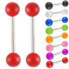 2P Tongue piercing surgical steel bar barbell tounge ring 9EBY-SELECT COLOR&SIZE