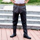 Men Wader Boots Trousers Pants Fishing Work Camping Hiking Waterproof Black PVC