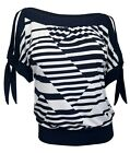 Plus size Off Shoulder Stripe Print Top Navy