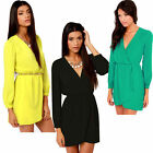 New Sexy Womens V-neck Long Sleeve Casual Chiffon Tops Dress Size 8-14