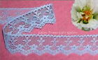 "5 Yards Lace Trim Blue Scalloped 1-1/8"" Floral O36V Added Items Ship No Charge"
