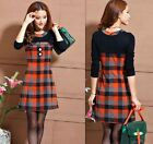 Fashion Womens Long-Sleeved Round Neck Skirt Bottoming Slim Plaid Dress New - Y