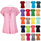 AO34 Womens Plus Size Frill Necklace Gypsy Ladies Tunic Short Sleeve V Neck Tops