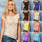 8 Colors Women's Sexy Lace Flowers Casual Shirt Tank Tops Short Sleeve Cami M/L