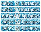 Blue Sparkle Birthday Foil BANNERS (2.7m/9')(Choice of Age) Party Decoration RM