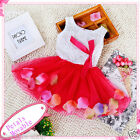 Toddler Infant Hot Pink White Princess Flower Girls Dresses SIZE 0-6-12-18-24 MO