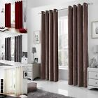 VELVET EYELET CURTAINS LINED RINGTOP CURTAIN GREY BLACK MINK RED CREAM