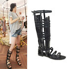 Gladiator Knee High Tall Calf Boots Womens Leather Roman Strappys Flat Sandals