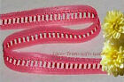 "6 Yards Lace Trim Pink Ladder 5/8"" Insertion N84V Added Items Ship No Charge"