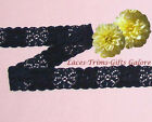 "5 Yards Lace Trim Black Stretch 3/4"" Galloon I24BV Added Items Ship No Charge"