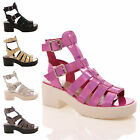 LADIES WOMENS CUT OUT GLADIATOR CHUNKY PLATFORM WEDGE SANDALS SHOE SIZE