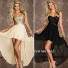 Sexy Women Sequin Strapless Swallow Tail Chiffon Evening Cocktail Party Dress
