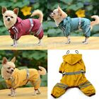 Pet Dog Cat Raincoat Clothes Puppy Glisten Bar Hoody Waterproof Rain Jackets New
