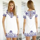 New Chines Style Women Casual Short Sleeve Dress Reto Printing Party Mini Dress