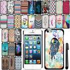 For Apple iPhone 5 5S SLIM FIT PATTERN HARD Case Back Phone Cover + Pen