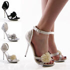 NEW LADIES WOMENS BRIDAL PROM BRIDESMAID EVENING PARTY SANDALS SHOES SIZE 3-8