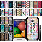 For Motorola Moto E 2014 1st SLIM FIT PATTERN HARD Case Back Phone Cover + Pen