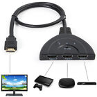 3 Port 1080P HDMI AUTO Switch Splitter Switcher HUB Box Cable for DVD PS3 HD TV