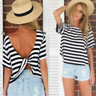 Womens Summer Short Sleeve Loose Black White T Shirt Casual Tops Blouse New